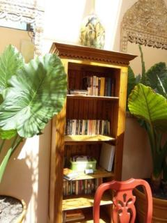 Lending library in the Common area, with books and DVDs