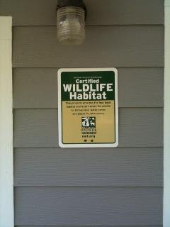 Proud to be a Certified Wildlife habitat!