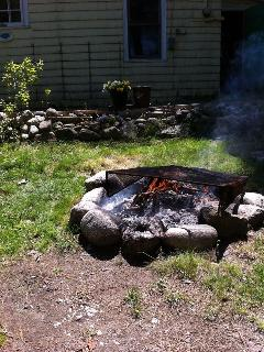 fire pit in the front yard