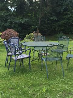 table and garden chairs
