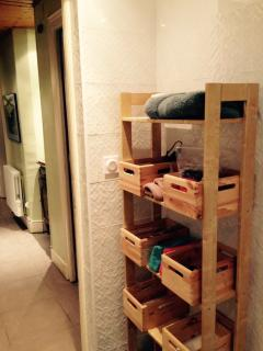 Individual storage space for toiletries