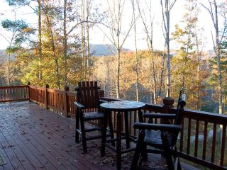 chairs on deck - beautiful view of the mountains all year