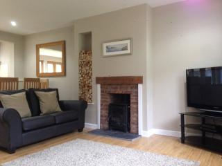 Spacious, open plan living area with log burning stove