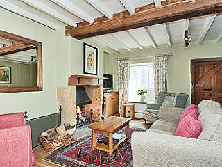 Sansons Cottage sitting room with open fire