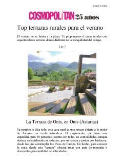 LA TERRAZA DE ONÍS,chosen by magazine COSMOPOLITAN between 6 best rural terraces Spain summer 2015