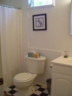 Full bath tub, shower, vanity