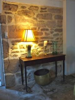 Warm stone walls inside the house