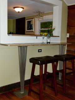 Breakfast Bar separates kitchen and Living room