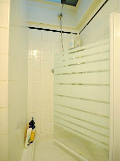 Shower on ground floor behind laundry room