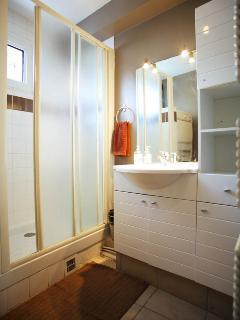 Oversized shower in bathroom