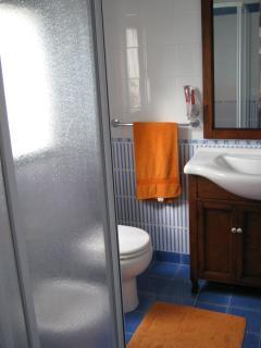 Bagno con accessori e doccia in camera