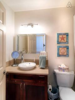 bathroom with designer fixtures