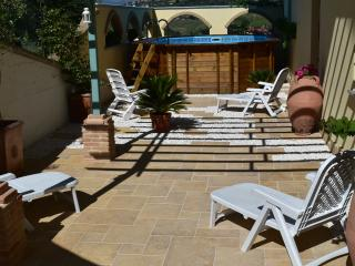 Secluded courtyard with plunge pool, pond, BBQ, table & partially shaded area with sun loungers.