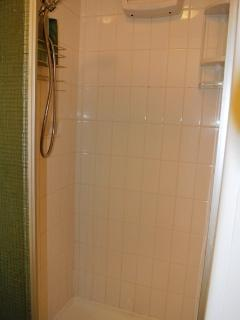 Old style shower with sliding door