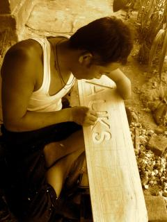 Robin ( Village local) helped us make our signboard. We Respect his talent being a one hand man.