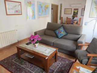 Living area, with dining area behind
