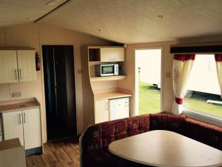 Static caravan by the sea at Reighton Sands, Filey