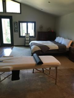 massage table in the master bedroom