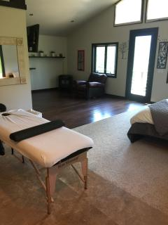 massage table in master bedroom