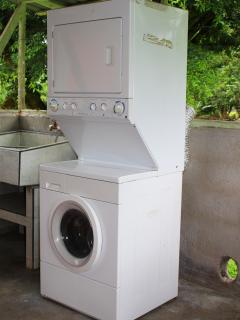 New washer and dryer available in open air laundry room.
