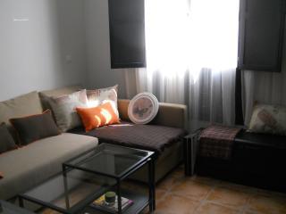 Salón con un cómodo sofá cama y  televisión