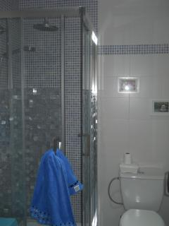 baño con ducha de hidromasaje, equipado con un gran armario de almacenaje