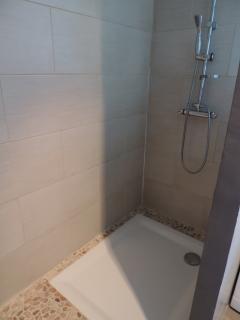 Grande douche avec mur en carreuax de verre