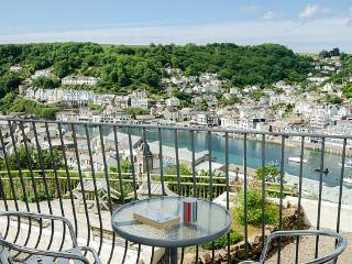 This first floor balcony is the perfect spot to watch Looe's busy harbour