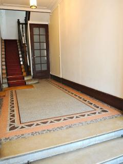 View of the entrance to our building with its mosaic floor