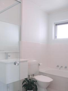 Bathroom: newly renovated - crisp and clean