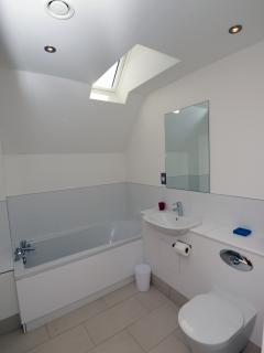 Family bathroom also has separate shower cubicle