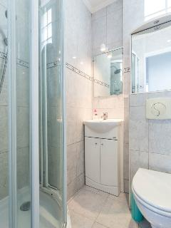 Shower room with multifunction shower, mirrored bathroom cabinet with an electric socket.