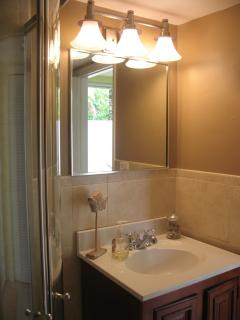 Guest bathroom in main part of condo near ktichen and entrance