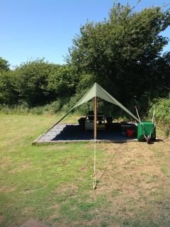 The canvas dining shelter of Dandelion pitch