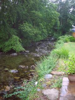 The river Colwyn runs through the garden