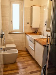 La zona bagno, con i diversi sanitari, la lavatrice incorporata nel mobile, cabina doccia e tv lcd