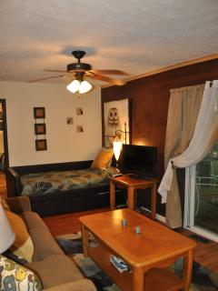 Living room w sliding door and attached deck
