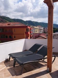 Backside terrace with sunbeds