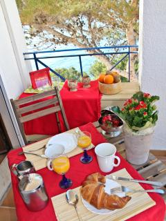 The Red room private balcony, perfect for breakfast.