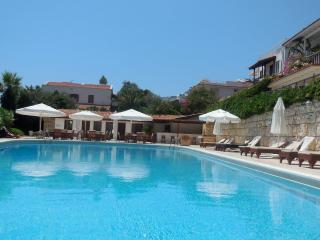 20 metre communal pool with loungers, seating area and bar in tranquil environment