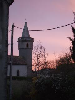 Sunset behind the village church