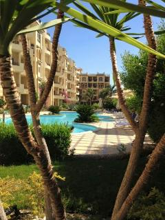 The pools and garden at El Andalous, which are never busy and have ample sunbeds and parasols.