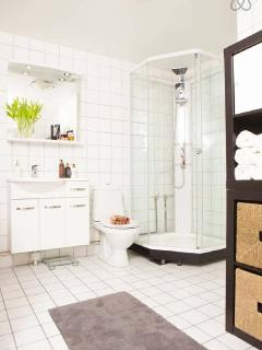 Spacious American style bathroom power rain shower and full washer and dryer