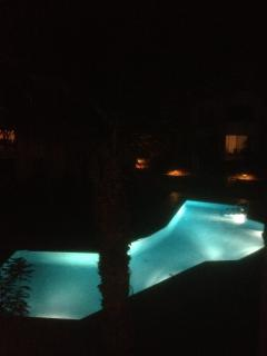 Nightime from the lower balcony; sit listening to the frogs and cicadas, you're really on your holls
