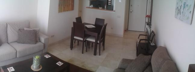 Two comfortable sofas in the lounge area and large flatscreen TV. 4G wifi available on request.