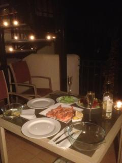 Dinner al fresco on the lower balcony with a chilled bottle of white Rioja.