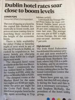 Dublin hotels are so much more expensive 6th July 2015 Irish Times