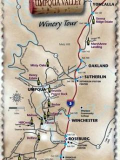 Partial map of Umpqua Valley wineries--- twice as many now!