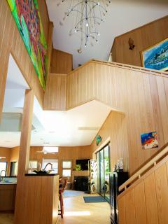 Interior of Bali Hi is comprised of heart pine flooring and bald cypress wood paneling throughout!