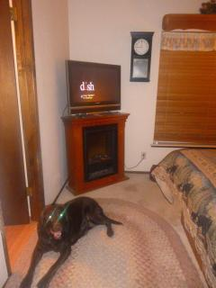 Cable and electric fireplace in room with King bed.